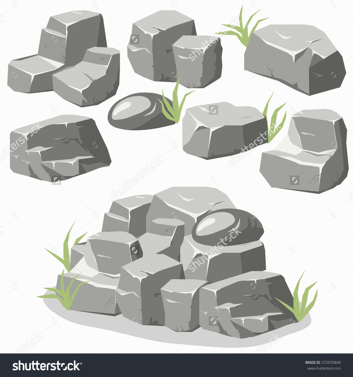 Rock Stone With Grass Cartoon Isometric 3d Flat Style Set Of Different Boulders Stock Vector Illustration 3729 Digital Art Tutorial Rock Textures Stone Rocks