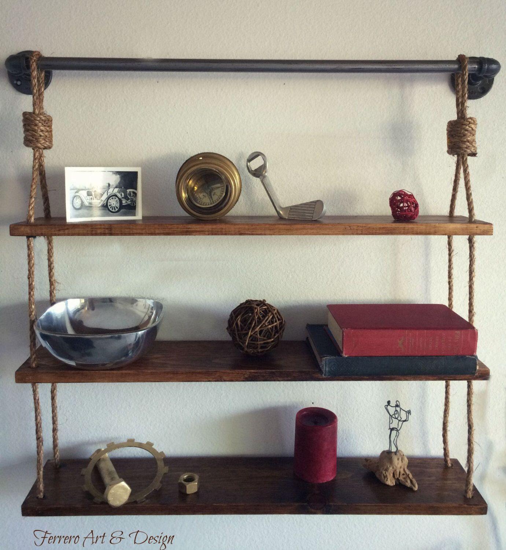 Rustic Hanging Shelf Shelves Rustic Shelves Pipe Shelf Book Shelves ...