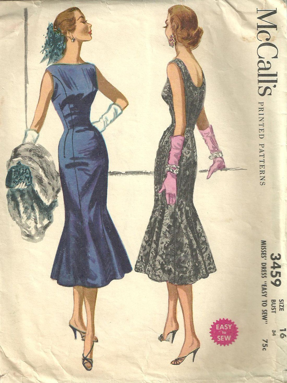 McCalls 3459 Vintage 50s Sewing Pattern Dress Size 16. $22.50, via ...