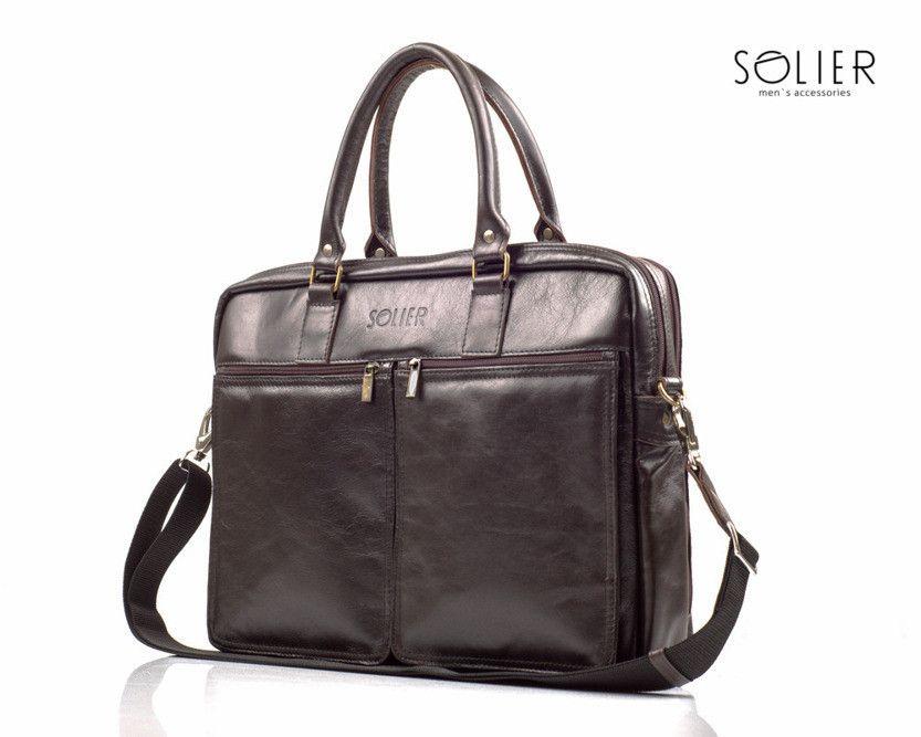 3ad4e44cd9684 Skórzana męska torba na ramię laptopa Solier SL01 Brązowy