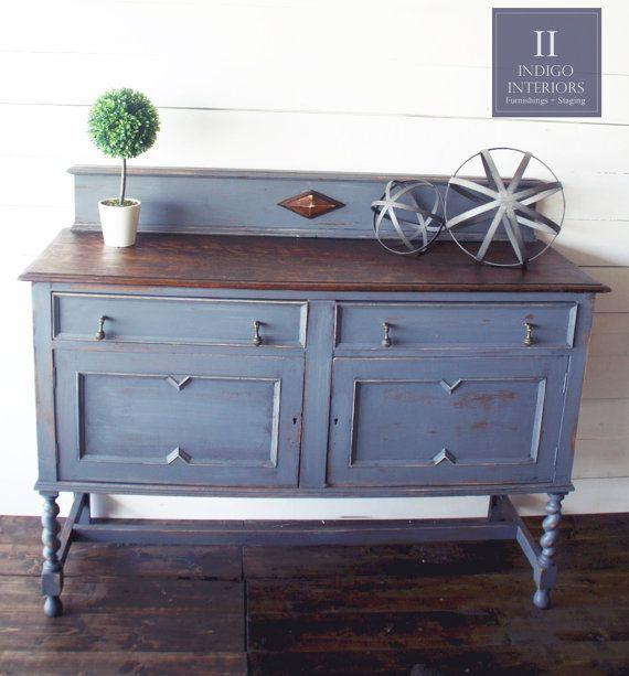vintage farmhouse style distressed light charcoal gray DIY Farmhouse Table Buffet Farmhouse Buffet Table Decor
