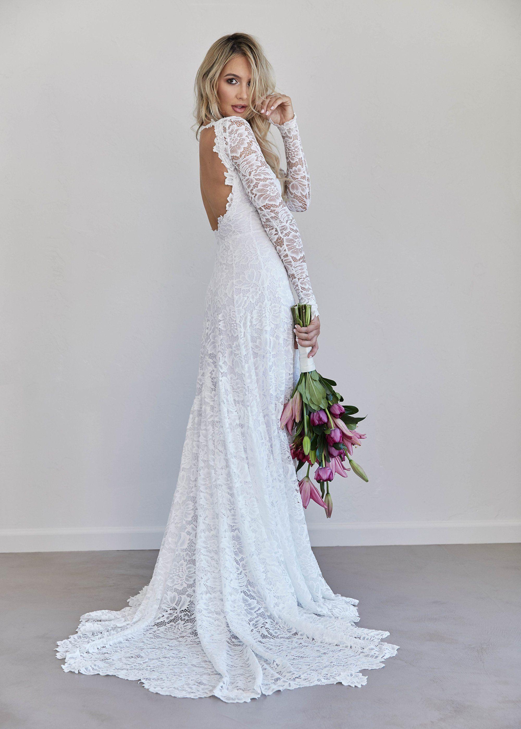 Lace long sleeves open back wedding dress sweetheart
