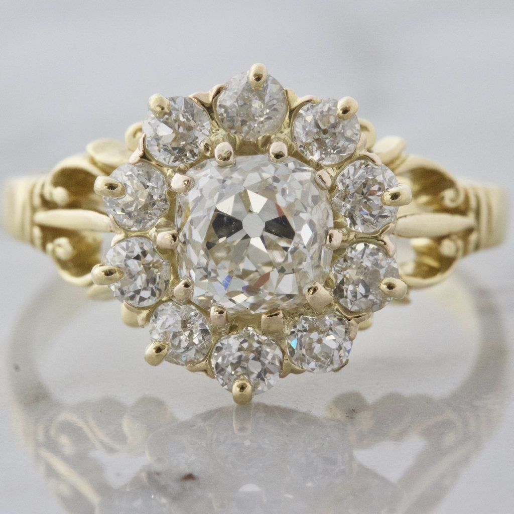 Nora Victorian engagement rings, Diamond cluster
