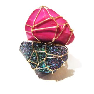 Gold Ring with Pink Agate and Multi-Colored Drusy
