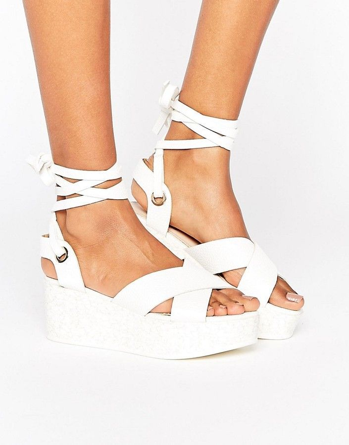 00a57c4f56 RAID Alma Tie Up Flatform Sandals | Products | Shoes, White strappy ...