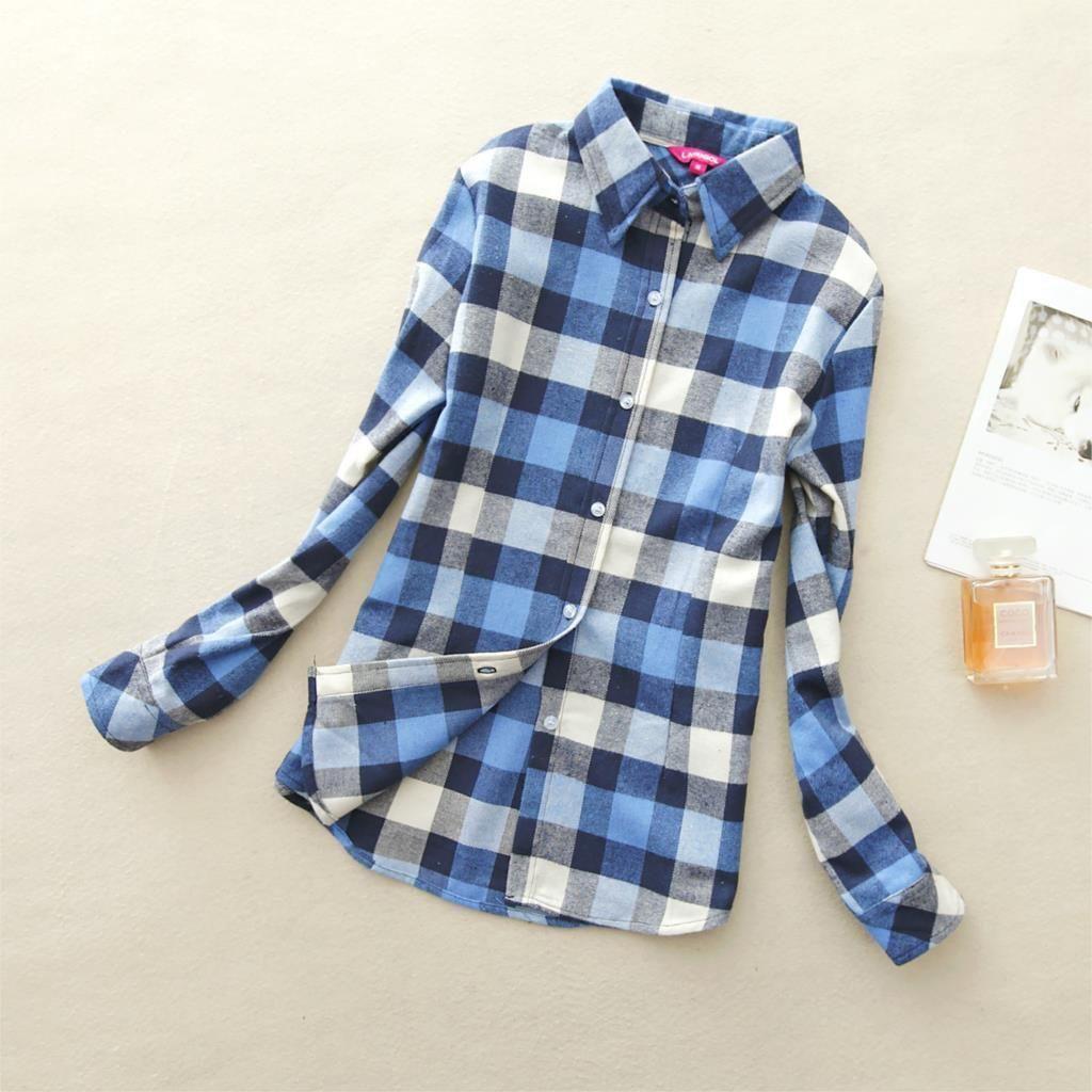 Flannel shirt plus size  Long sleeve ladies cotton flannel casual shirt plus size top  Plaid