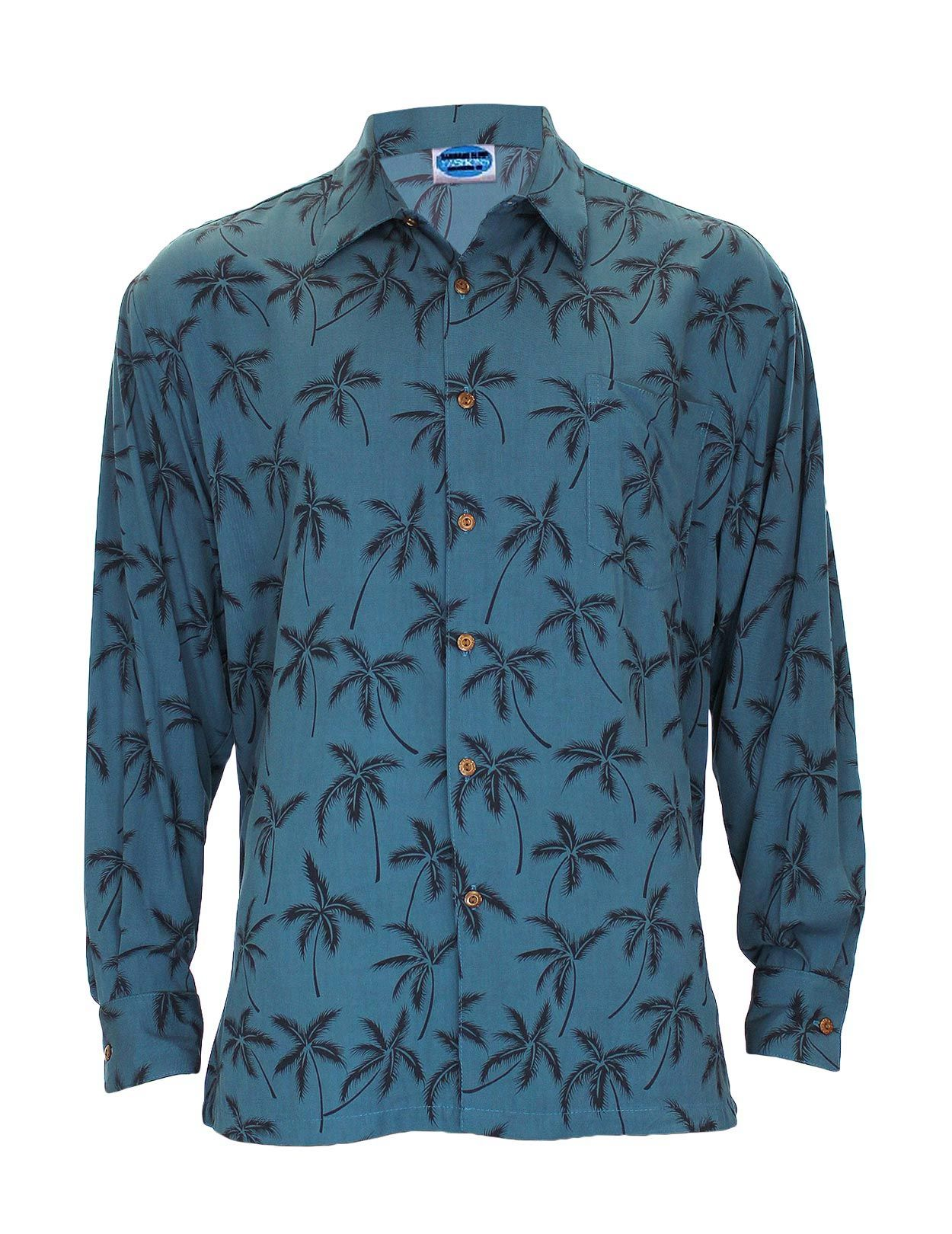 ef41904f2 Check out the deal on Teal Blue Rayon Long Sleeves Tropical Palms Aloha  Shirt - Hawaiian Gala Design at Shaka Time Hawaii Clothing Store  #hawaiianshirt ...