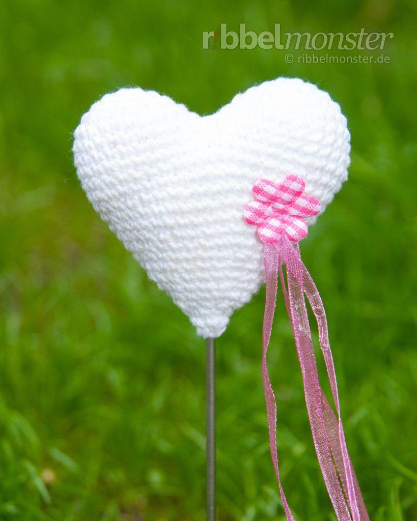 Anleitung Amigurumi Herz Blumenspieß Häkeln Häkeln Stricken