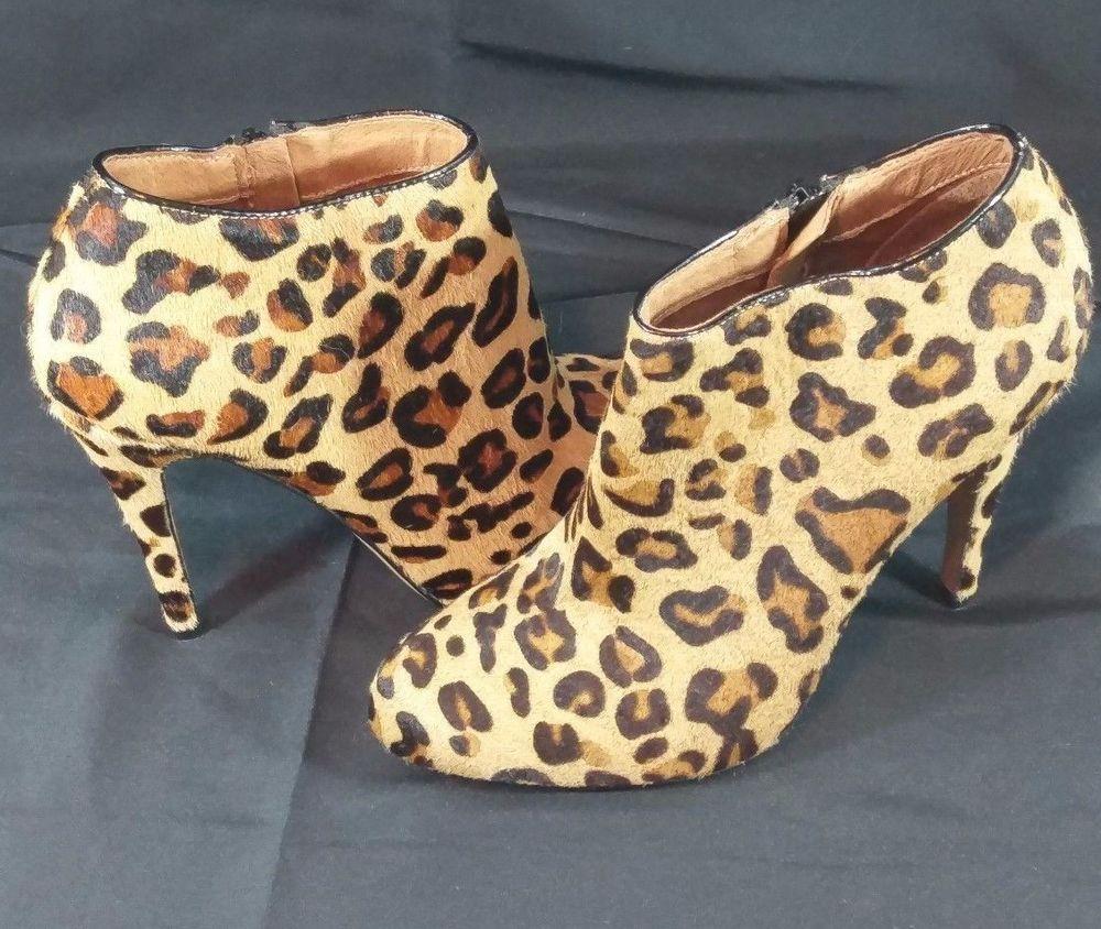 Aldo Calf Hair Leather Heeled Cheetah Print Booties Shoes Women's Size 7 Eu  37.5 #Aldo