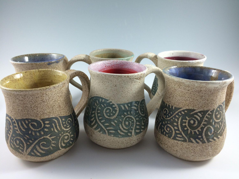 Handmade Pottery Coffee Mugs, Pottery Mug , Stoneware Mugs, Sgraffito, Handmade  Mugs, Blue, Green, Yellow, Red, Purple, Pottery, Stoneware