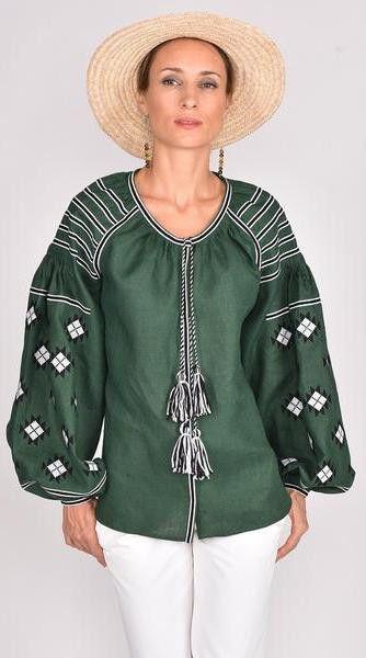 Fanm Mon SS17 ENVY Vyshyvanka Top Embroidered Dark Green Fabric Black White Embroidery Geometric Blouse