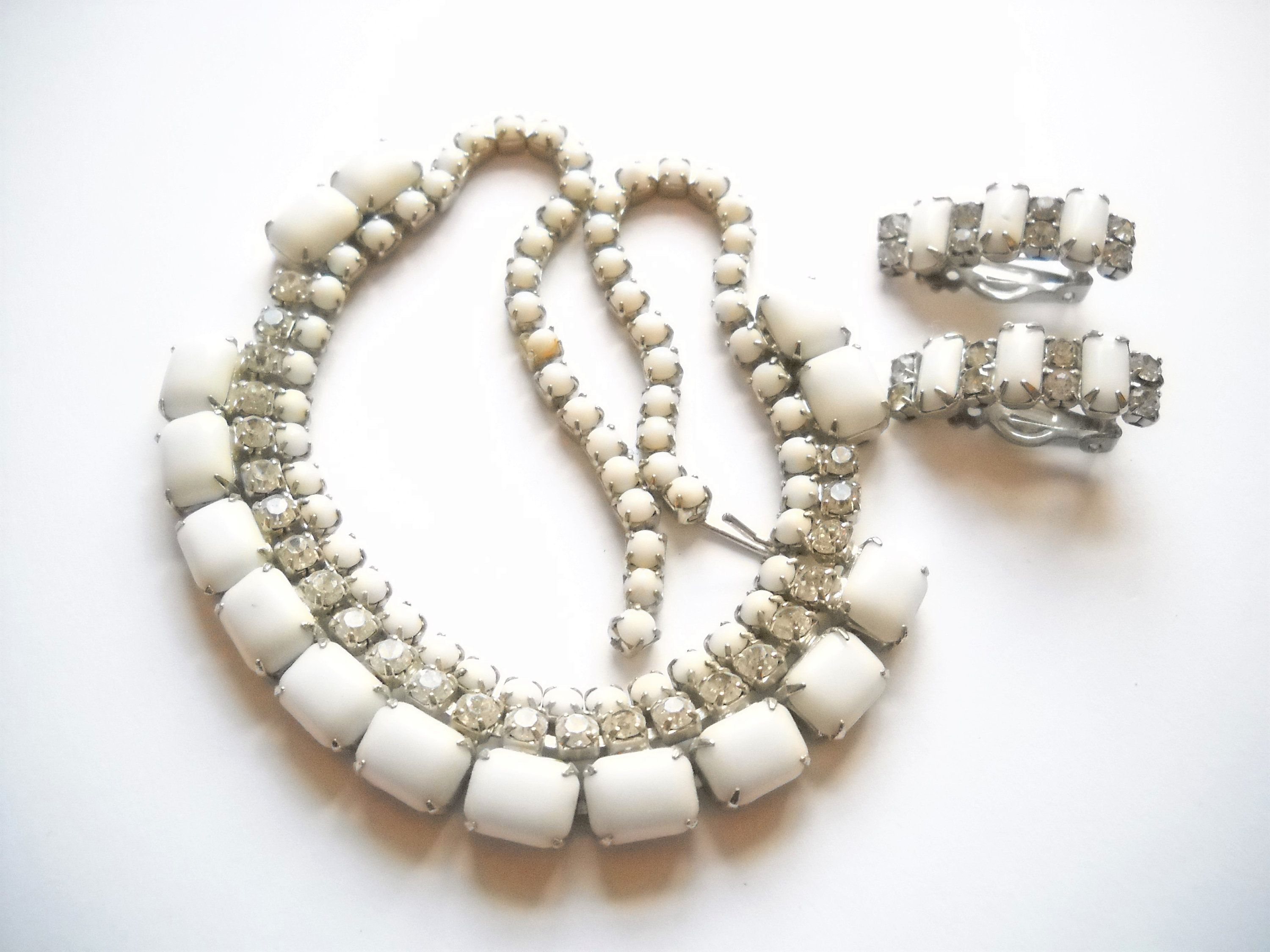 Vintage set white milk glass rhinestone choker necklace earrings