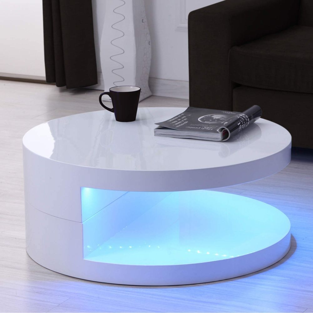 White High Gloss Led Round Coffee Table 80x80cm Table