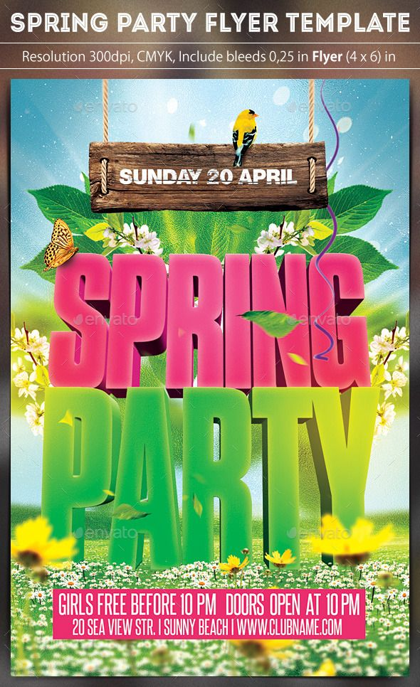 Spring Party Flyer  Party Flyer Spring And Font Logo