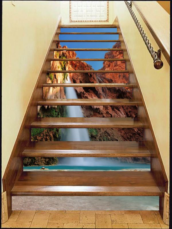 3d Red Rock Water Stair Risers Decoration Photo Mural