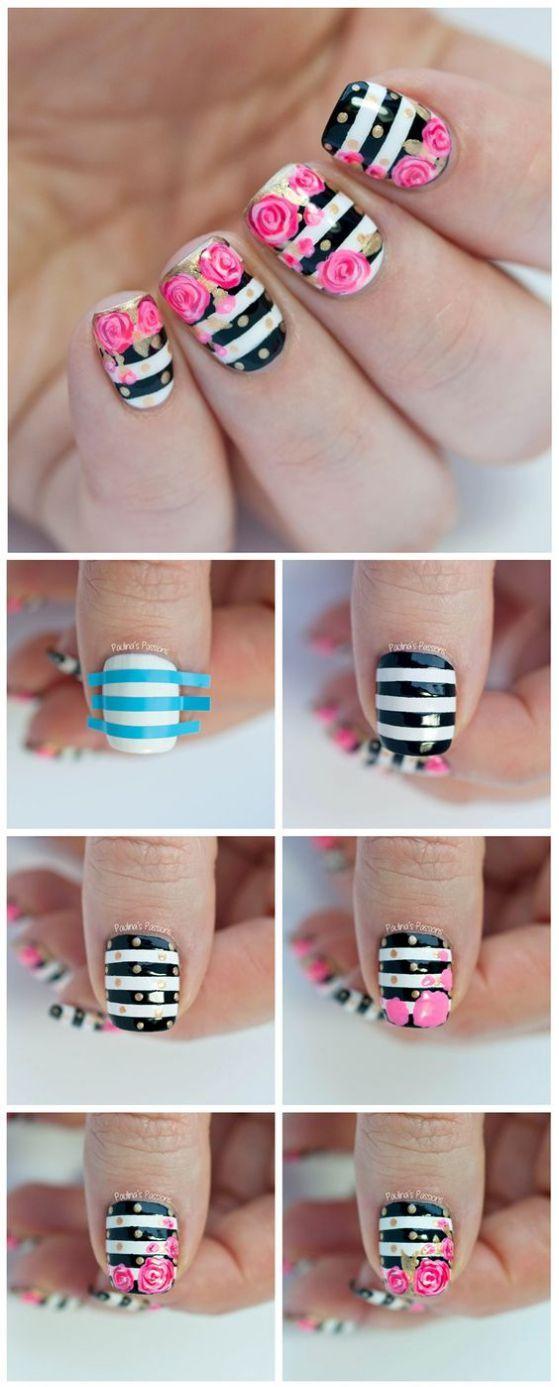 uñas faciles tutorial | nail art | Pinterest | Uñas fáciles, Diseños ...
