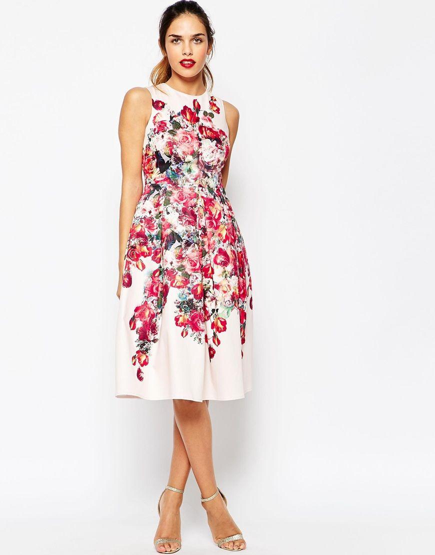 Petite Vintage Floral Bardot Midi Prom Dress With Lace Up Back