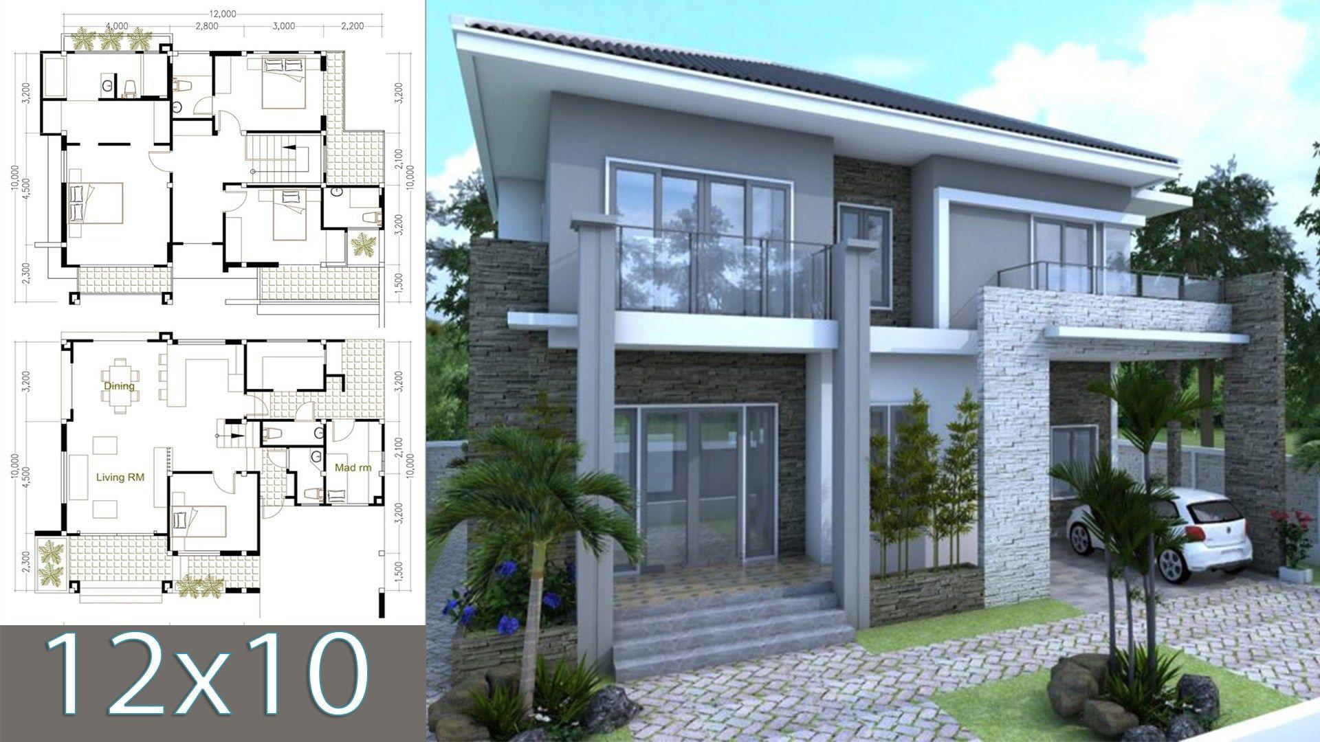 5 Bedrooms Modern Home 10x12m Samphoas Plan Modern House Plans Modern House Design Modern House