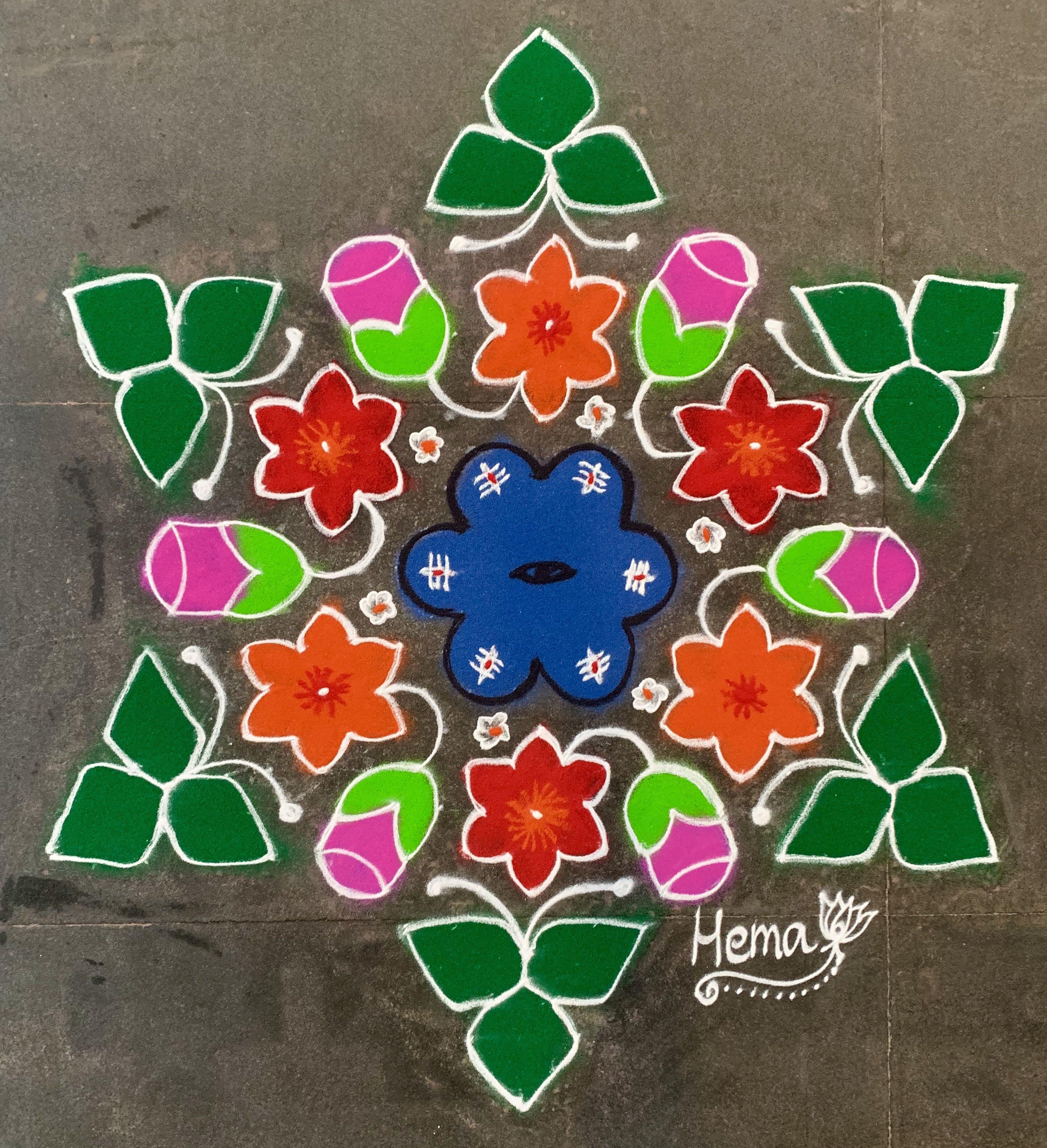 Pin by Hema Kannan on Margazhyi 201819 Flower rangoli