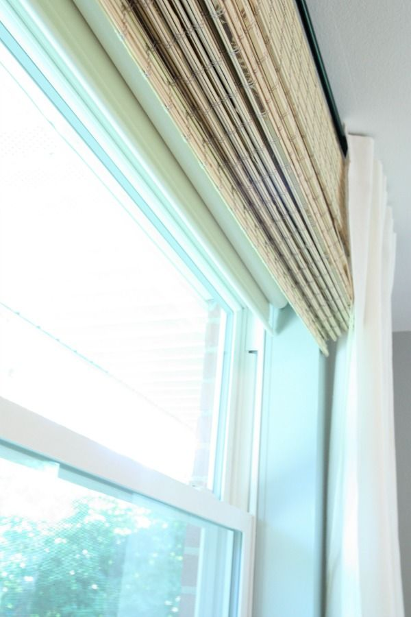 Our bedroom window treatments ikea ritva curtains for Bamboo roller shades ikea