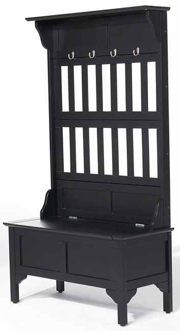 Black Hall Tree with Storage Bench  sc 1 st  Pinterest & Black Hall Tree with Storage Bench | Boot tray Wall colors and Bench