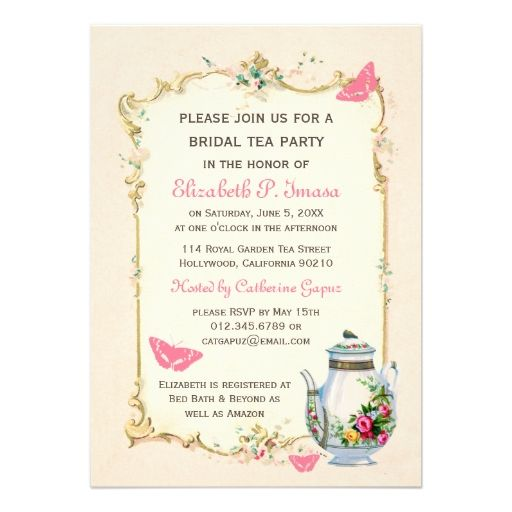 Pink Vintage French Bridal Tea Party Card  Tea Parties Custom