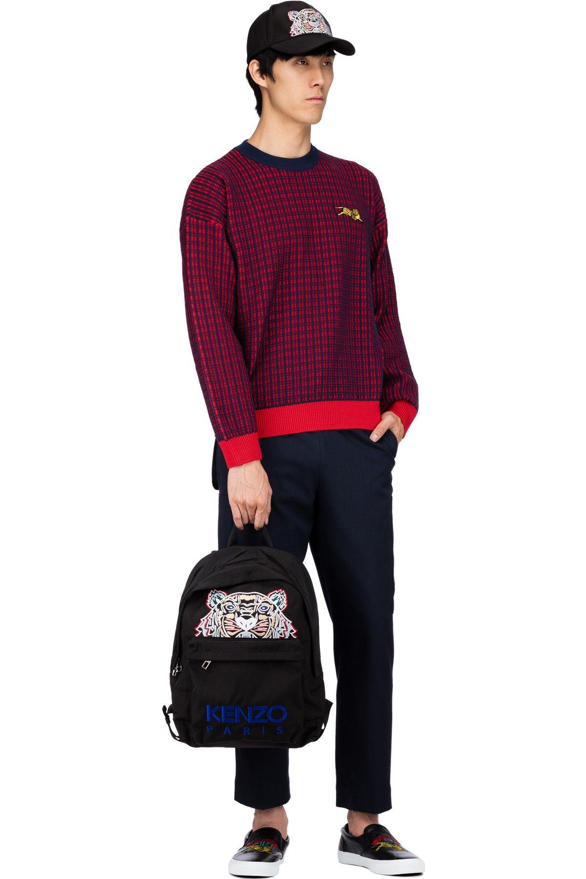 0cbad16d Print Logo, Canvas Backpack, Black Backpack, Metal Buckles, Zipper Pulls,  Kenzo