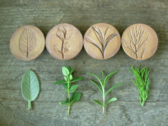 Stoneware Herb Magnets- set of 4