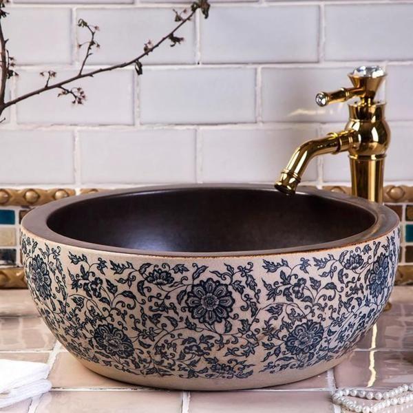 Photo of Round Bathroom Countertop Wash Basin Hand Painted Ceramic Sink