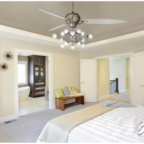 Contemporary Bedroom With Mid Century Inspired LED Ceiling Fan With  Chandelier