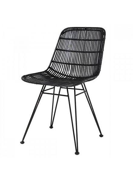 HK Living Chaise Rotin Noir