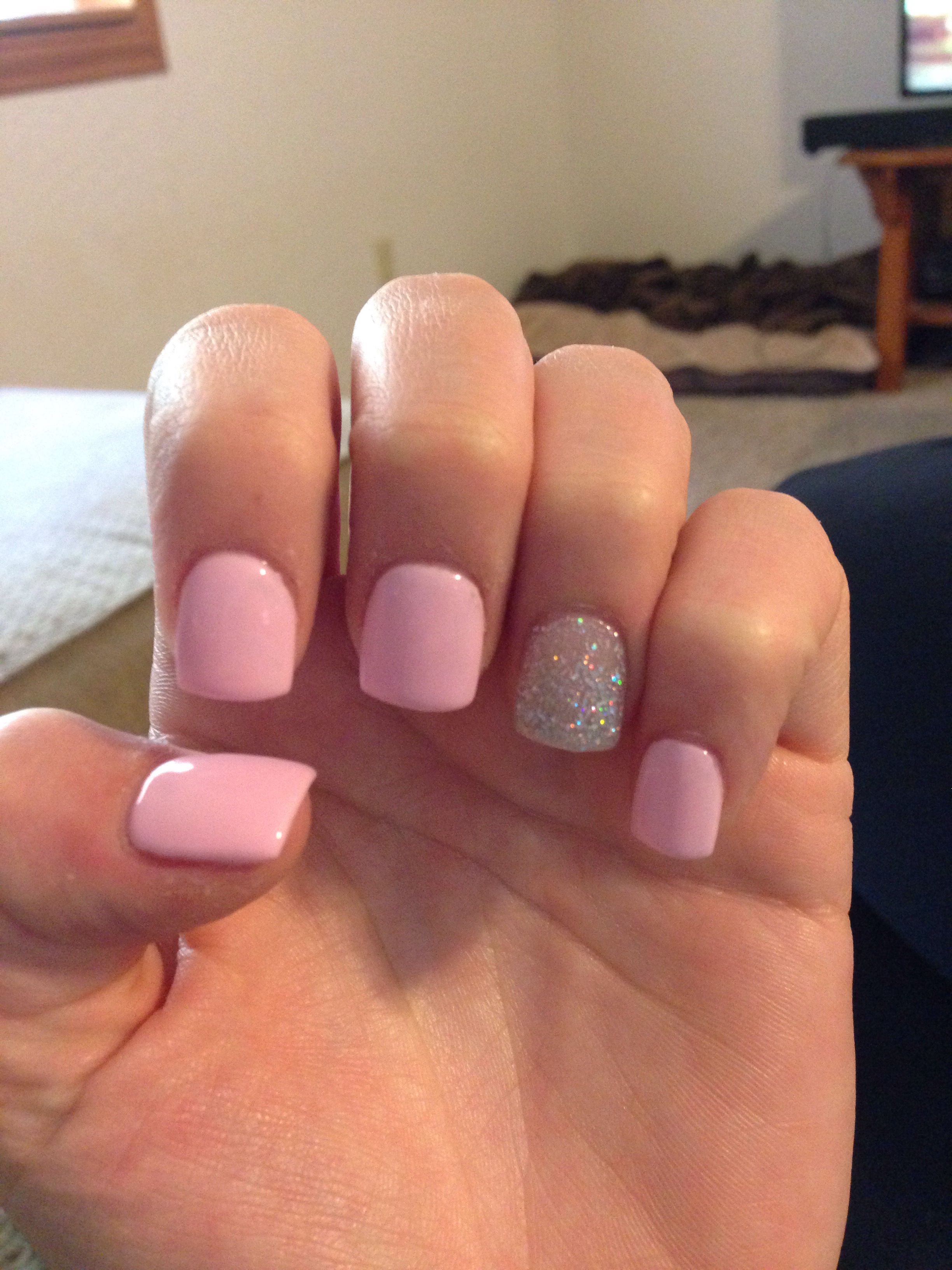 Light Pink With Silver Glitter Accent Nail Light Pink Acrylic