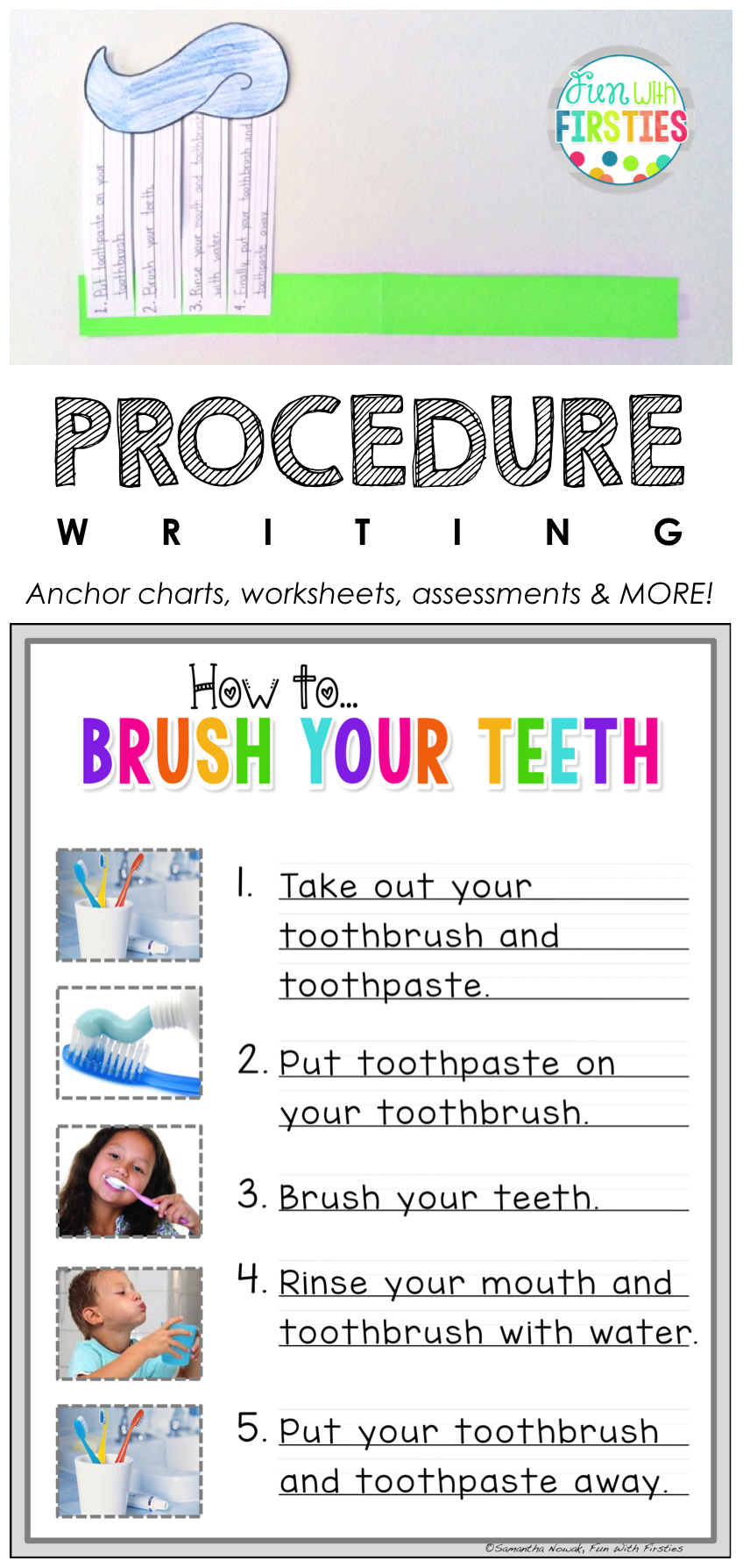 How To Brush Your Teeth Lesson Craftivity For Procedure How To Writing Procedural Writing Primary Writing Kindergarten Writing [ 1787 x 848 Pixel ]
