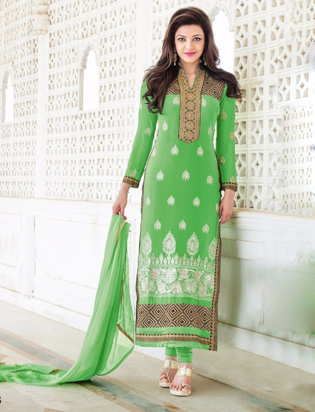 Kajal Aggarwal Green Georgette Pakistani Style Suit 57954 Fashion Dresses Dresses Green Suit