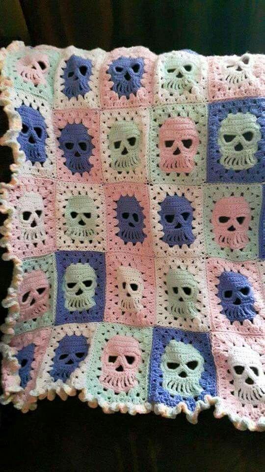 Granny Square With Skulls Crochet Skull Patterns