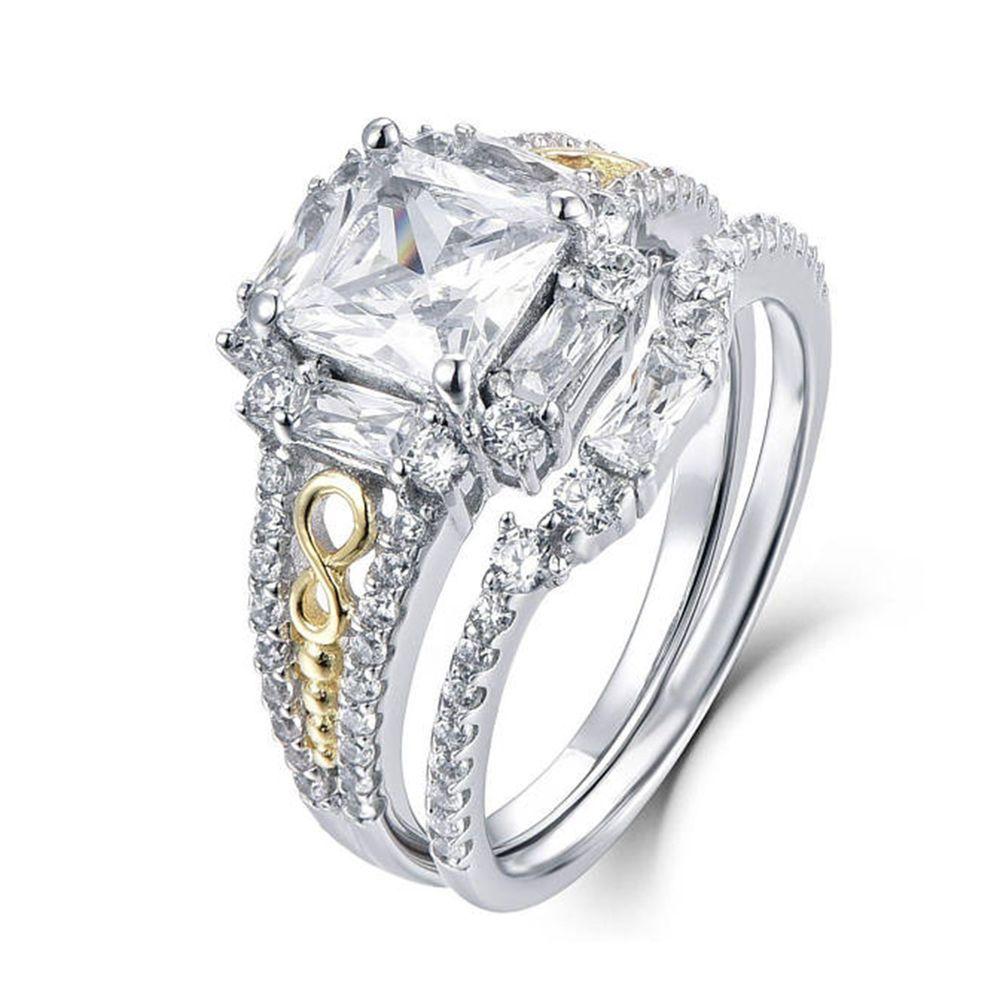 2.75 CT STERLING SILVER PRINCESS BASKET WEDDING ENGAGEMENT RING SET SZ 5 6 7 8 9
