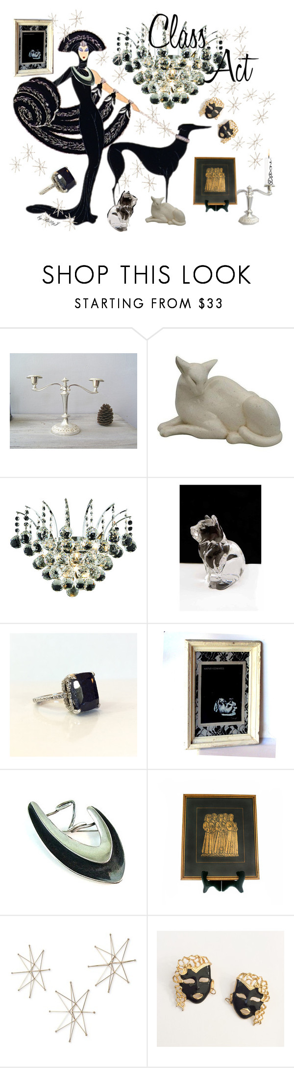 """Class Act"" by plumsandhoneyvintage on Polyvore featuring Elegant Lighting, St. John, Uttermost, Georg Jensen and vintage"