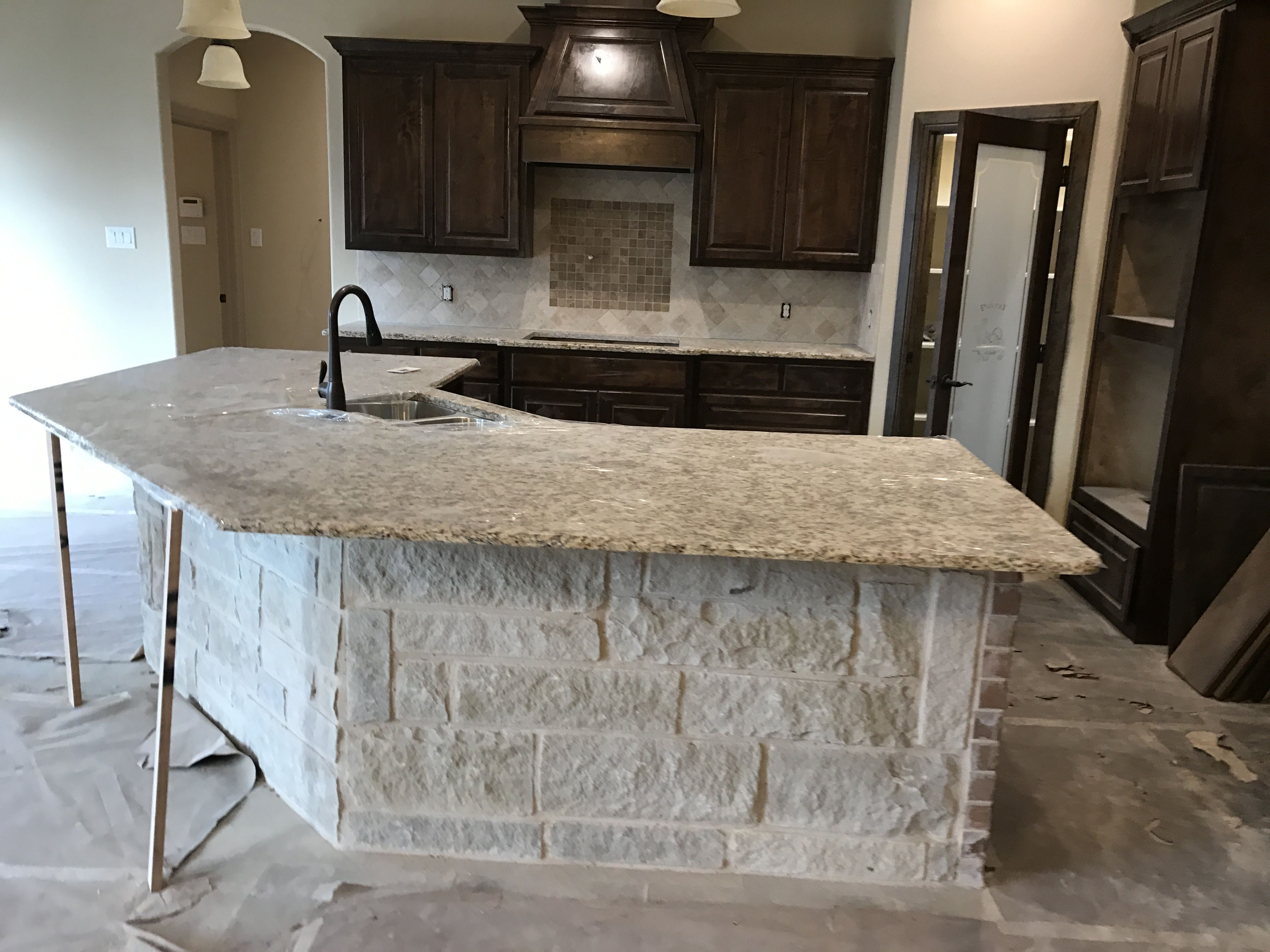 Kitchen High Bar Countertops In Giallo Napoli With Stone Face In The Works New Construction Bar Countertops Exterior Decor Granite Countertops