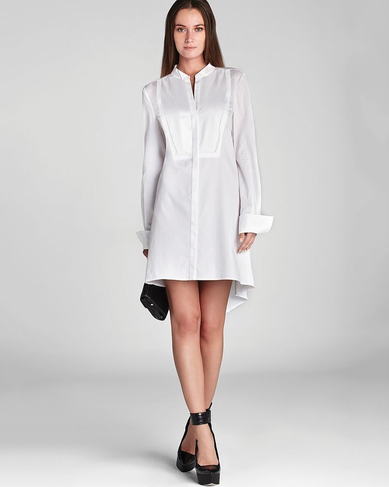 Bcbg Max Azria Giada Womens Long Sleeve Tuxedo Dress White