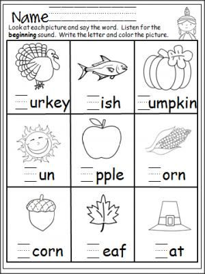 Free Thanksgiving beginning sounds worksheets for beginning readers ...