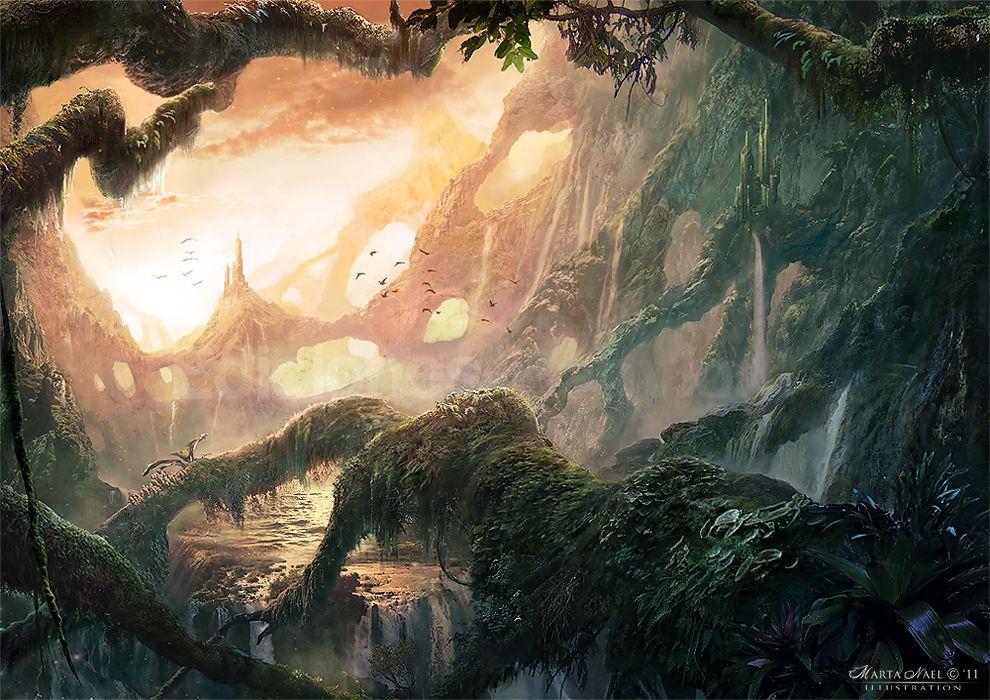 Landscape. Fantasy Matte Painting. #illustration or #ilustración by Marta Nael (deviantart) goo.gl/7BKhL
