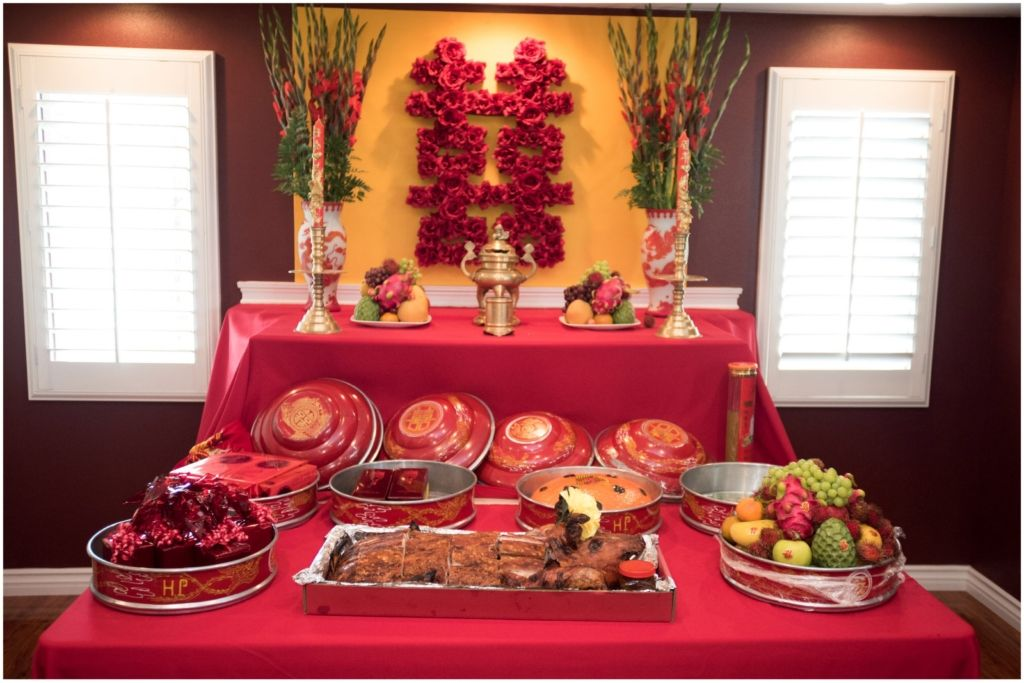 Private Residence Vietnamese Tea Ceremony Altar Traditional Bridal Gifts Food Fruits Jewelry John Joseph Photography Inc Luxury Wedding Planner Event