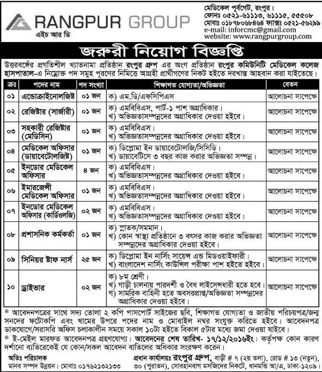 10 Positions Rangpur group Job Circular | Job Circular | Job