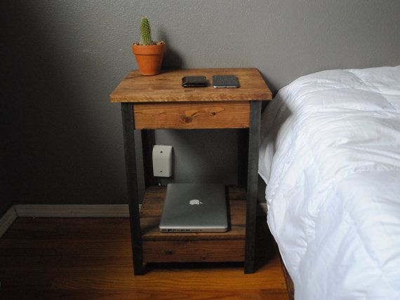 Tavoli Alti Fai Da Te : Rustic side end table nightstand with iron legs and lower shelf