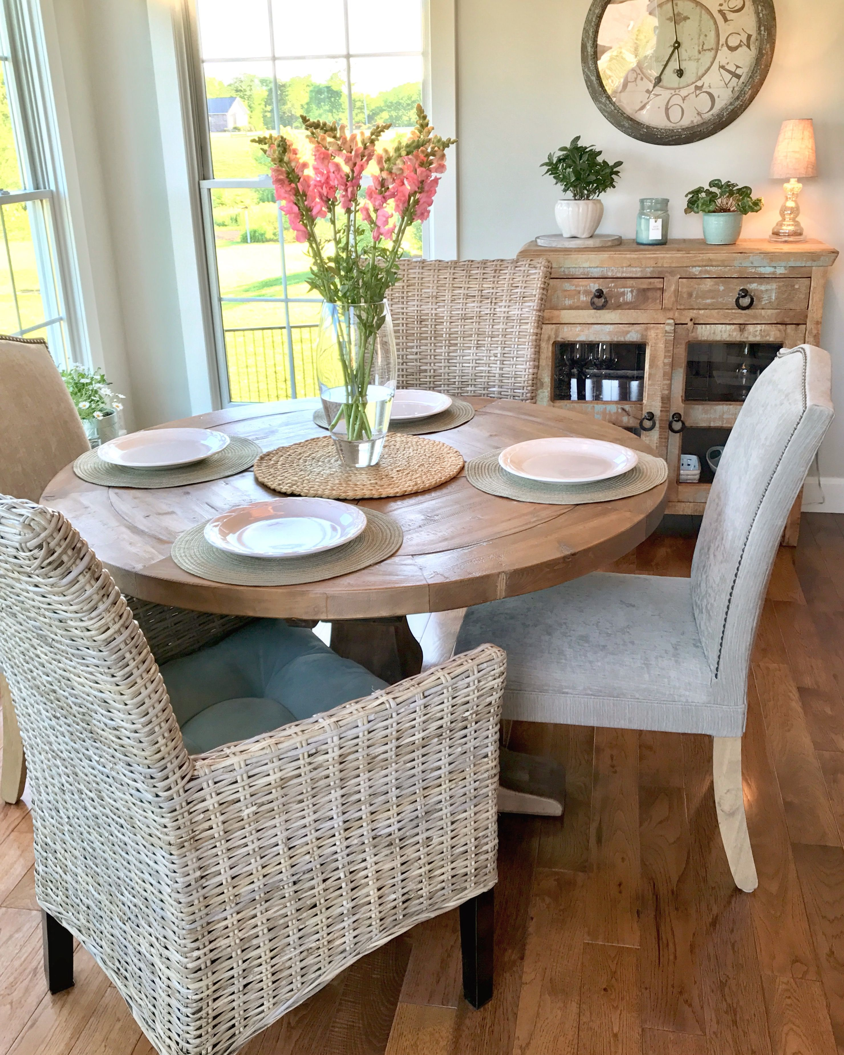 "Kubu Dining Armchairs from Pier1, a Restoration Hardware Salvaged Wood Trestle table 48"", breakfast nook, breakfast room."