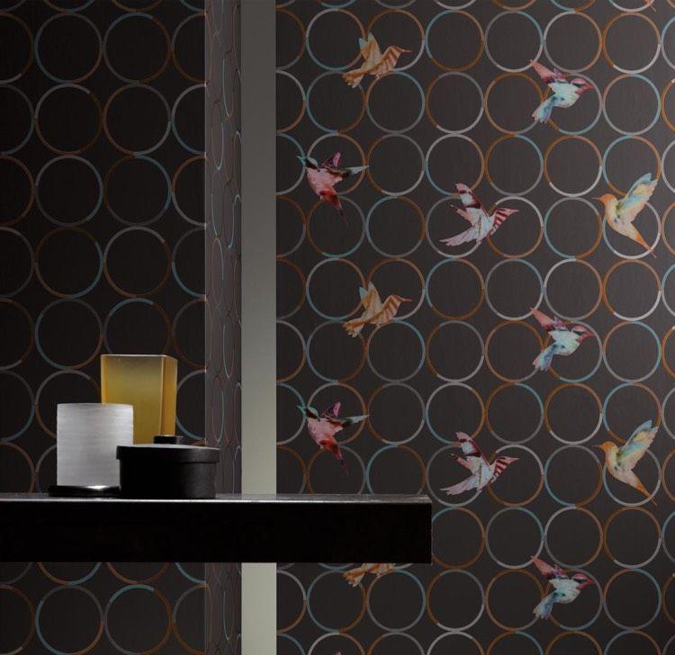 Designer Tapeten designer tapeten ulf moritz vögel bunt kreismuster wandgestaltung