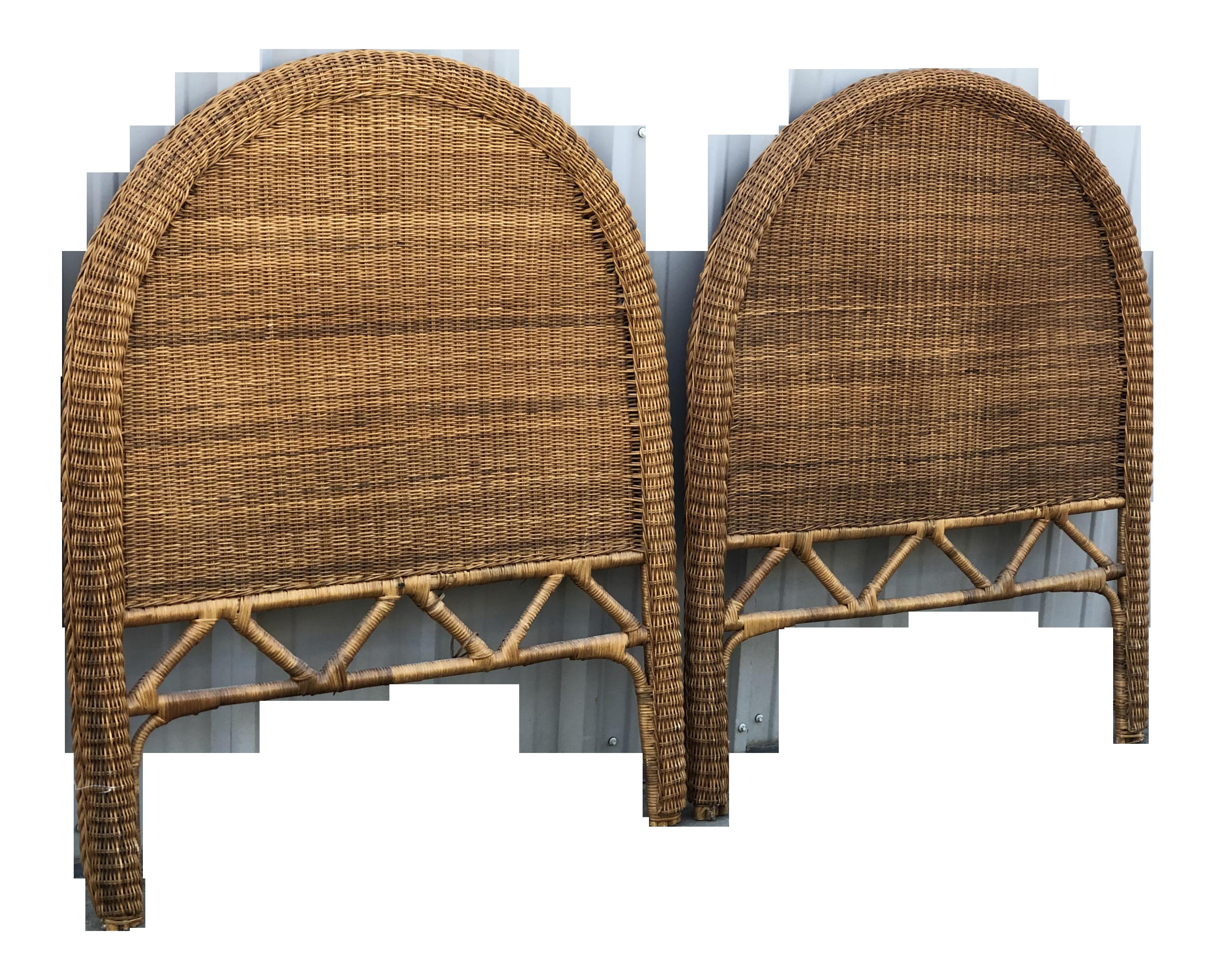 Vintage Boho Chic Rattan Twin Headboards   a Pair on Chairish.com ...