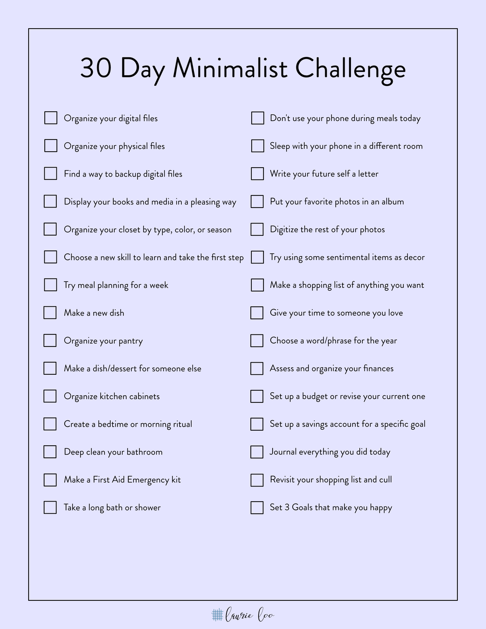 The 3 Step Minimalist Challenge - 10, 20, and 30 Days — The Laurie Loo