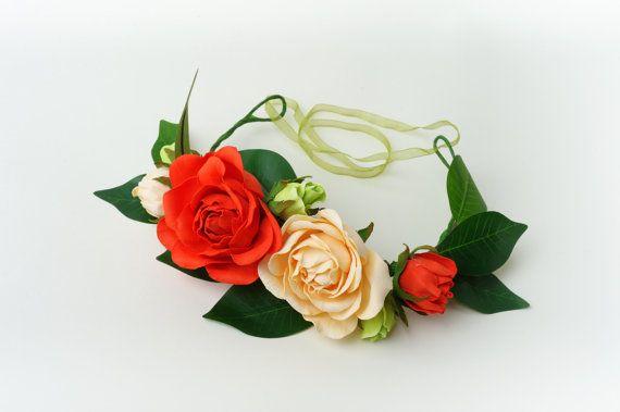 Peach Wedding dog collarfloral dog bow tiepeach от MarsDogShop