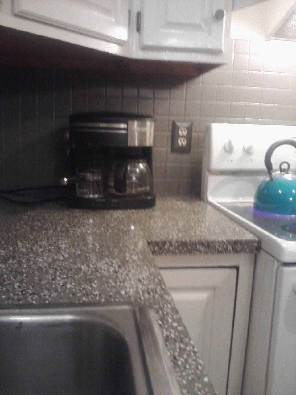Linoleum Kitchen Countertops : covered my old pink linoleum with countertop paint, tossed paint ...
